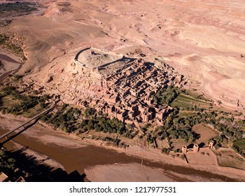 Aerial view on Kasbah Ait Ben Haddou old city in the Atlas Mountains, Morocco