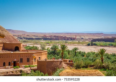 Aerial view on Kasbah Ait Ben Haddou and desert near Atlas Mountains, Morocco