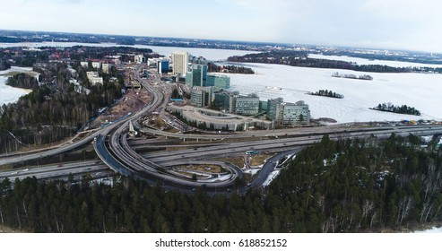 Aerial view on Keilaniemi and route 51, on a sunny winter day in Espoo, Finland