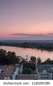 Aerial view on the lake at sunset in Ivano - Frankivsk city