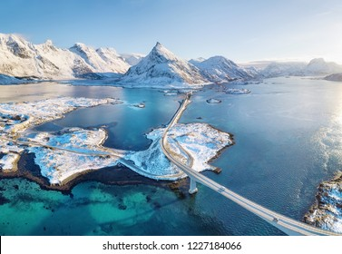 Aerial view on the Lofoten islands, Norway. Natural landscape from drone. Aerial landscape from air in the Norway