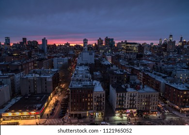 Aerial view on lower east manhattan at sunset