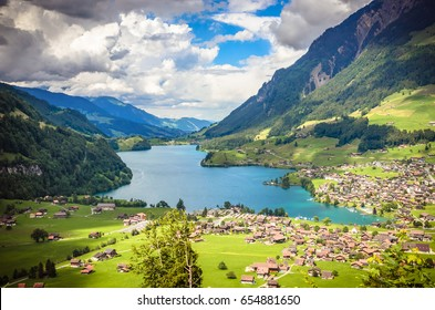 Aerial view on Lungernsee lake near Luzern, Switzerland, Europe