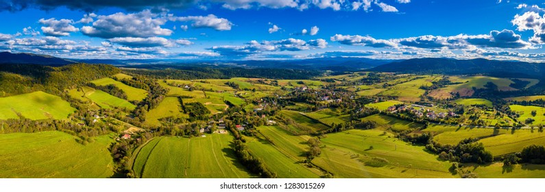 Aerial view on Lutowiska village in Bieszczady mountains in Poland - drone landscape.