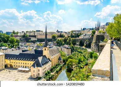 Aerial view on Luxembourg city, church in Neumunster Abbey. Luxemburg