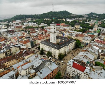 Aerial view on the Lviv (Lvov) Old City main square