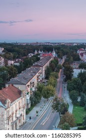 Aerial view on the main road at sunset in Ivano - Frankivsk city