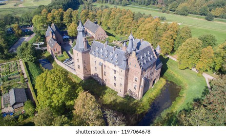 Aerial view on the medieval Doorwerth Castle in the Netherlands