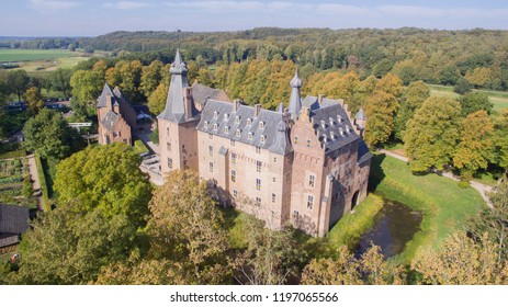 Aerial view on the medieval Doorwerth Castle and surroundings. This castle is one of the most beautiful castles in the Netherlands.