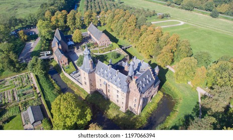 Aerial view on the medieval Doorwerth Castle. One of the most beautiful castles in the Netherlands.
