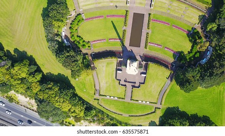 Aerial view on memorial park with monument. Auckland, New Zealand