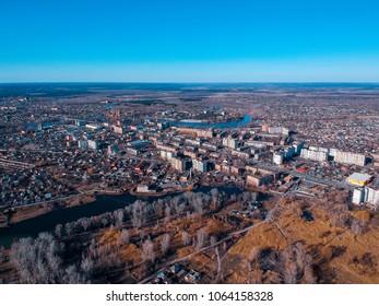 Aerial view on Mirgorod city in eastern Europe, Ukraine