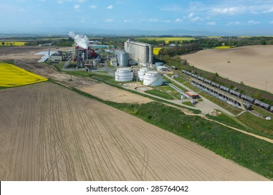Aerial view on the modern biofuel factory