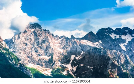 Aerial View on mountains in the slovenian Alps