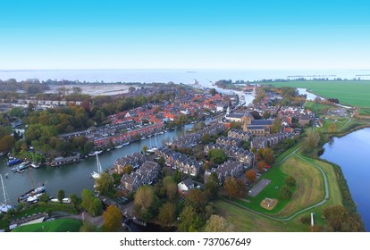 Aerial view on Muiden. The Netherlands