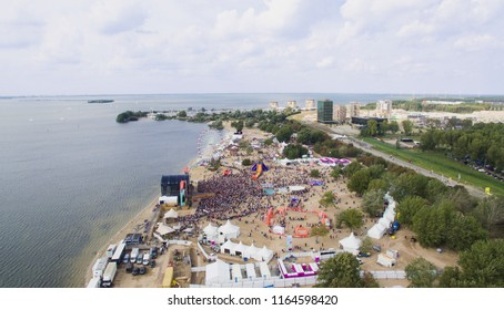 Aerial view on a music festival in the Netherlands