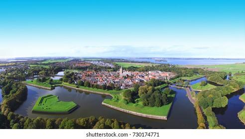 Aerial view on Naarden vesting