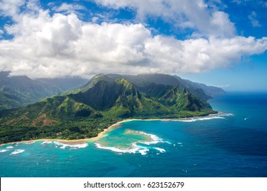 Aerial View on Napali Coast on Kauai island on Hawaii from helicopter