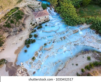 aerial view on the Natural thermal waterfalls at Saturnia