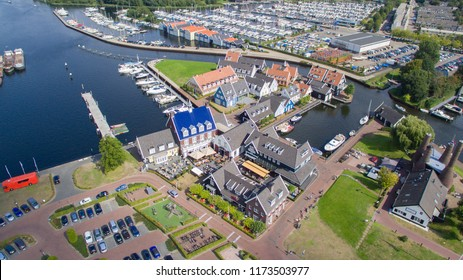 Aerial view on the nautical district in Huizen, Netherlands