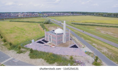 Aerial view on a new built Mosque in Almere, Netherlands