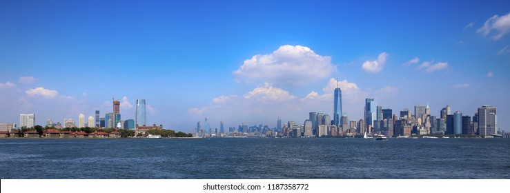 Aerial view on New Jersey and New York City Manhattan from Liberty island