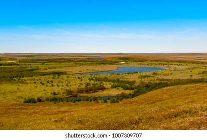 Aerial view on North Yamal landscapes