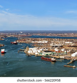 Aerial view on oil storages of Bayonne, NJ, USA