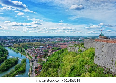 Aerial view on the old city and tower of the citadel in Besancon of Bourgogne Franche Comte region in France.