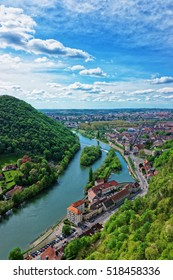 Aerial view on the old city from the citadel in Besancon in Bourgogne Franche Comte region, France.