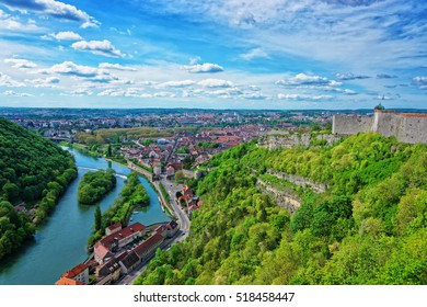 Aerial view on the old city and tower of the citadel of Besancon in Bourgogne Franche Comte region in France.