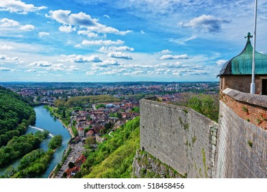 Aerial view on the old city and tower of the citadel in Besancon in Bourgogne Franche Comte region in France.