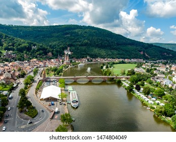 Aerial view on old german town Miltenberg am Main river, Castle, St. Jacob catholic church, bridge  Odenwald, Bavaria, Germany