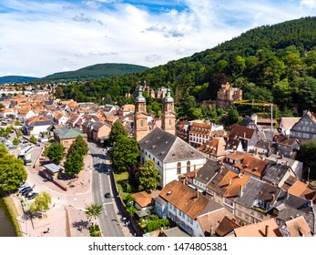Aerial view on old german town Miltenberg am Main river, Odenwald, Bavaria, Germany Castle, St. Jacob catholic church