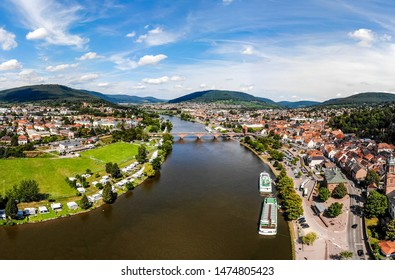 Aerial view on old german town Miltenberg am Main river, main bridge. Odenwald, Bavaria, Germany
