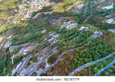 Aerial view on the Old Road serpentine in the national park Lovcen, Montenegro.