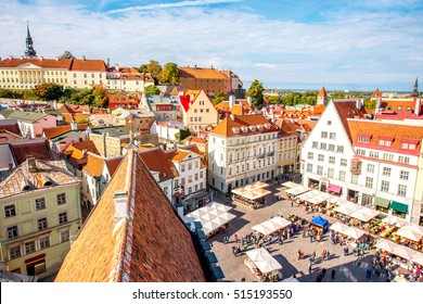 Aerial view on the old town with main central square in Tallin, Estonia