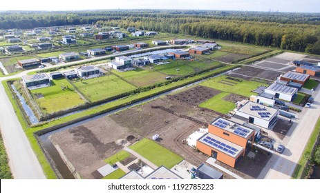 Aerial view on Oosterwold in Almere. In this experimental district the residents arrange all infrastructure and NUTS facilities by themselves.