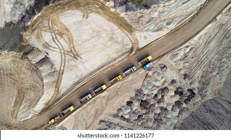 Aerial view on open pit mine of sand, hummus and coal