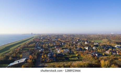 Aerial view on Overgooi and the Gooilake. Almere, Netherlands.