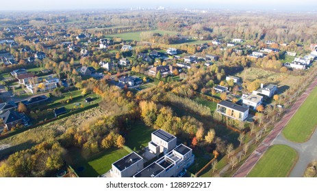 Aerial view on Overgooi. Villa district in Almere, Netherlands.