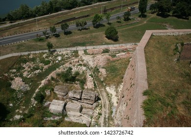 Aerial view on park, road and ruins near Kalemegdan fortress in Belgrade, Serbia