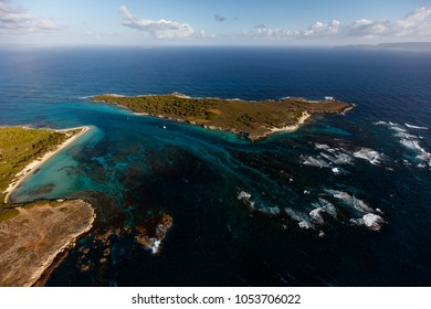 Aerial view on petite terre island nearby the french island of Guadeloupe
