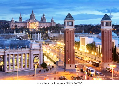 Aerial View on Placa Espanya and Montjuic Hill with National Art Museum of Catalonia, Barcelona, Spain