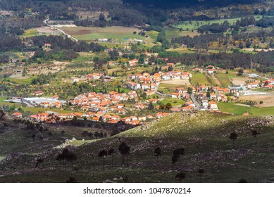 Aerial view on a portugese village from the hill