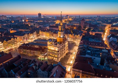 Aerial view on Poznan main square and old city at evening. Poznan, Wielkopolska, Poland