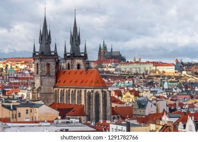 Aerial view on Prague city center
