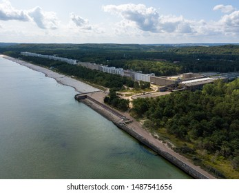 Aerial view on Prora, a massive project known as Colossus of Prora built by the Nazi-Regime that is currently reconstructed to host new flats and a hotel. Located at the baltic sea on the Ruegen