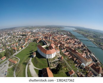 Aerial view on Ptuj Castle and Ptuj town, the oldest town in Slovenia