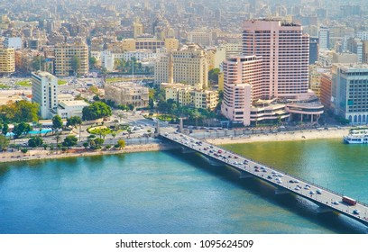 Aerial view on Qasr El Nil bridge over the Nile river with Midan Tahrir square on the background, Cairo, Egypt.